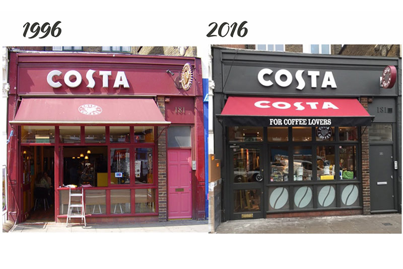 Manufacturing Costa Coffee Signage For 20 Years