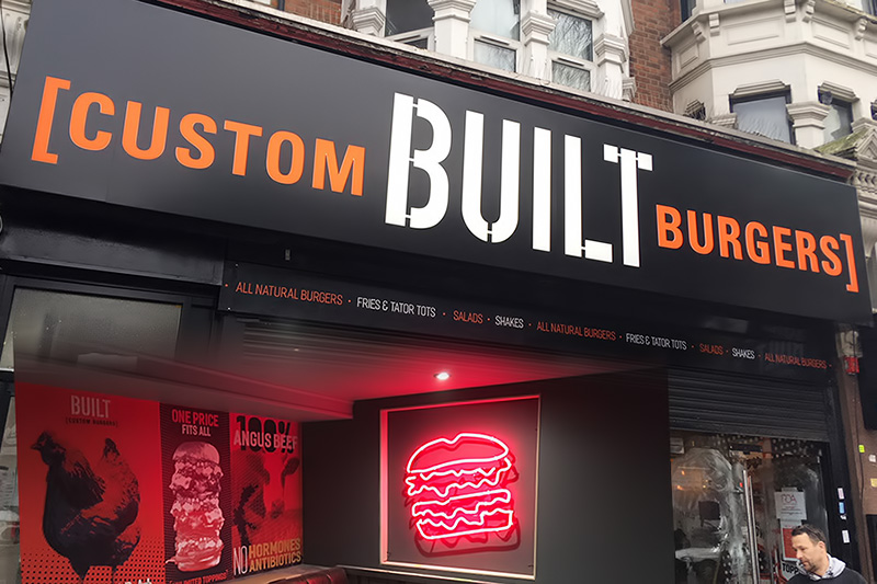 Custom built burgers fascia sign