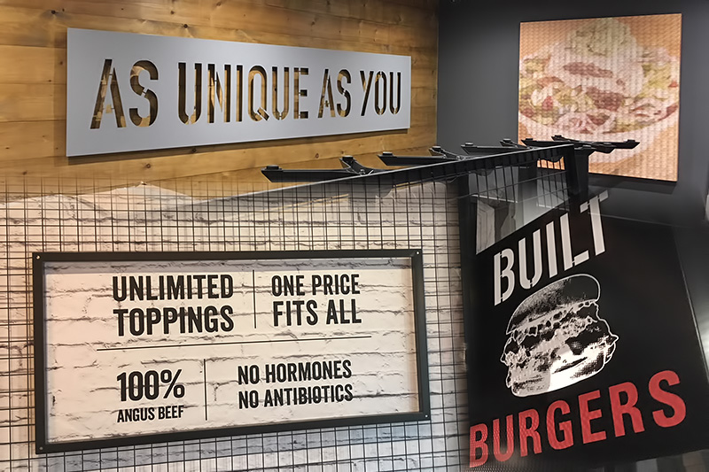 Custom built burgers internal signage