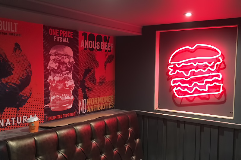 Custom built burgers neon sign