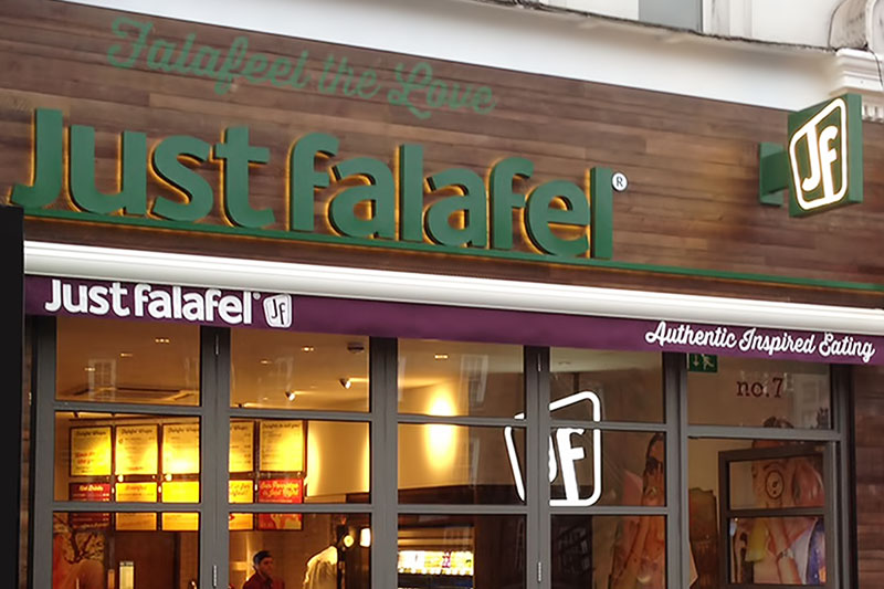 Just falafel signage contractor fulham