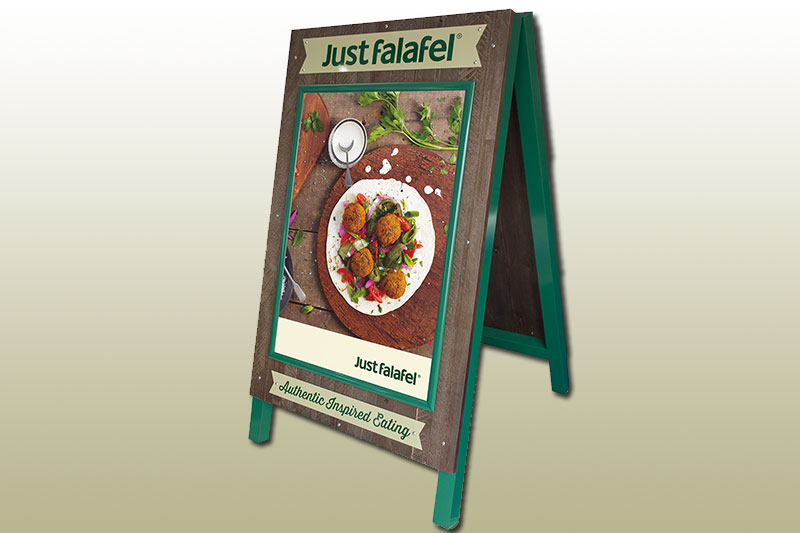Just falafel specialist A-board pavement sign