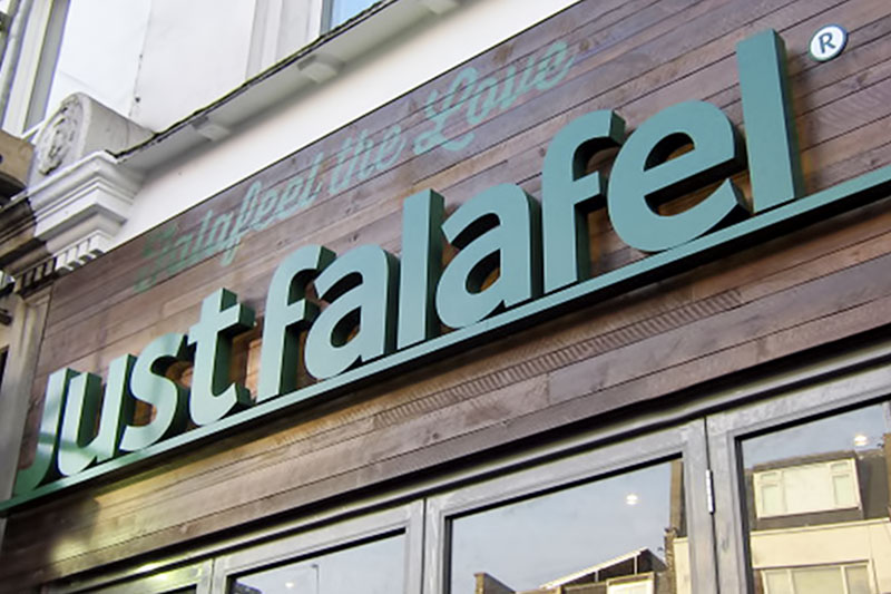 Just falafel built up letters fulham