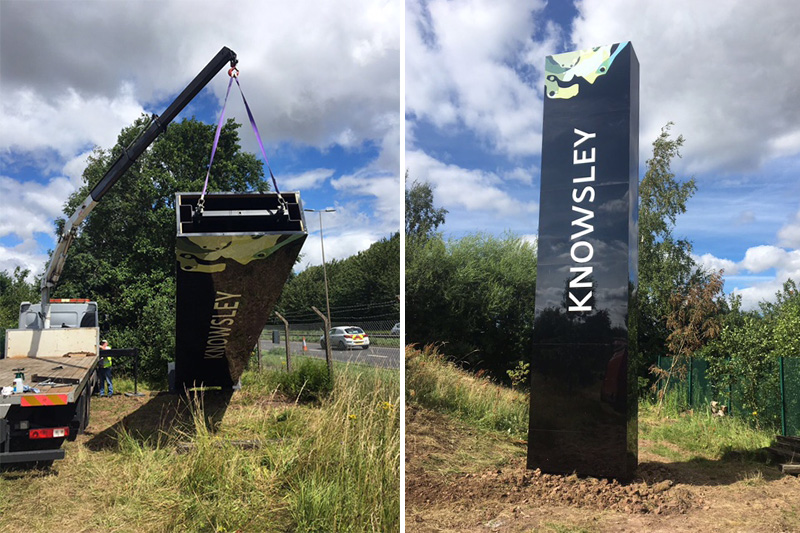Knowsley gateway sign installation in progress