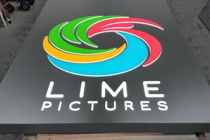 Lime pictures illuminated sign in workshop