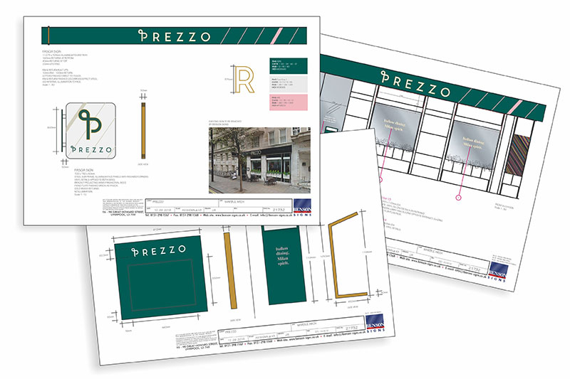 Prezzo Signage Drawings