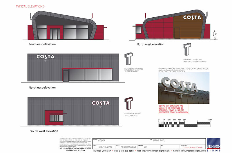 Costa drive thru signage scheme drawings