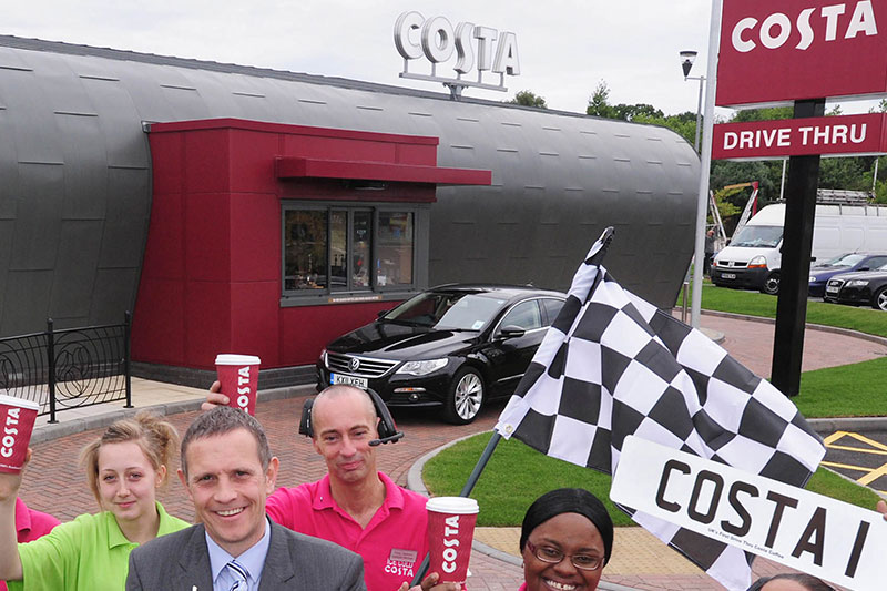 Costa coffee opens its first uk drive thru