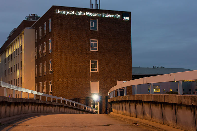 LJMU high level illuminated letters