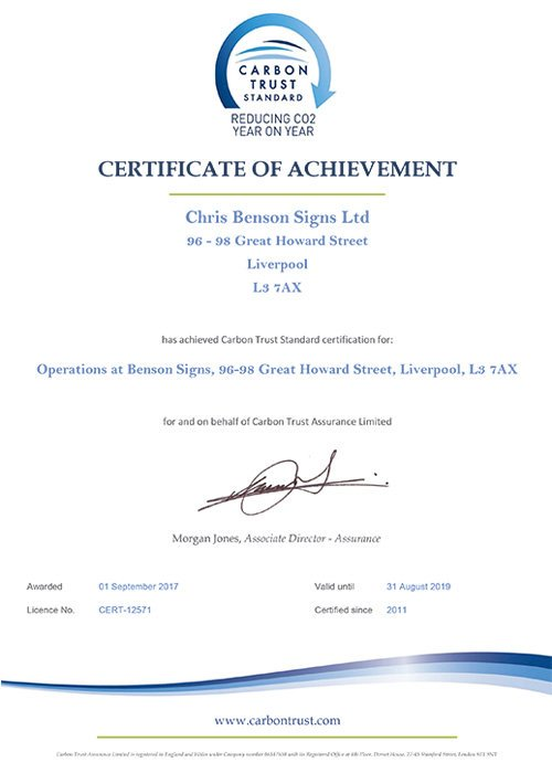 Fourth successive carbon trust award for benson signs
